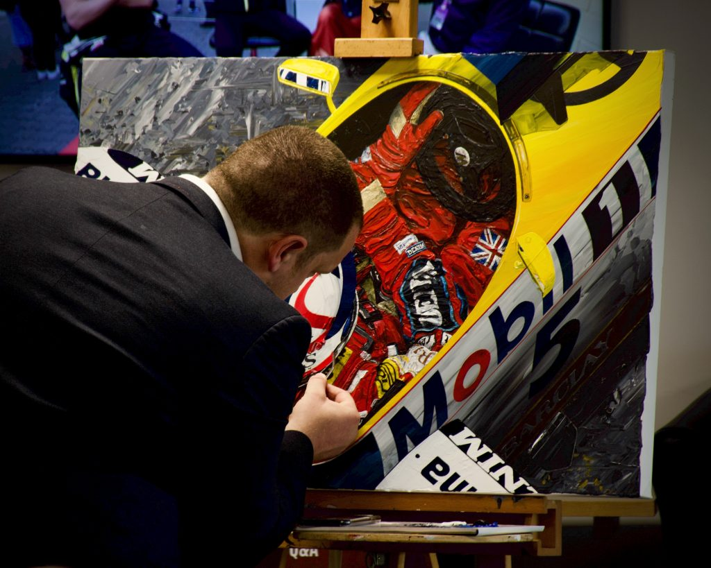 Cars and coffee - famous artist, David Johnson, of Formula Art completed his Nigel Mansell painting at Re:Fuel live in 2019